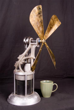 Hot Air Stirling Cycle Engine Stove Fan